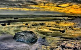 Картинка море, небо, облака, камни, берег, вечер, отлив