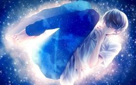 Картинка небо, звезды, аниме, арт, парень, xxxka66