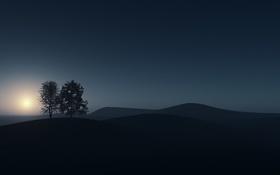 Обои минимализм, Утро, холмы, солнце, деревья, линии