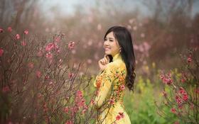 Обои волосы, стебли, улыбка, желтое платье, поле, девушка, цветы