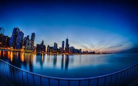 Обои Вечер, Огни, Панорама, Чикаго, Небоскребы, Здания, Америка