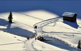 Обои зима, мостик, снег, дом, дерево