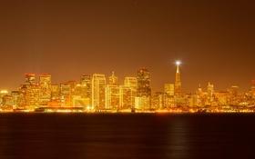 Картинка ночь, огни, дома, Сан-Франциско, США