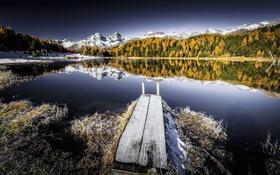 Обои иней, озеро, мост, осень, горы