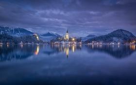 Картинка вечер, бледское озеро, зима