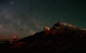 Картинка космос, звезды, Млечный путь, вспышки, Бьют