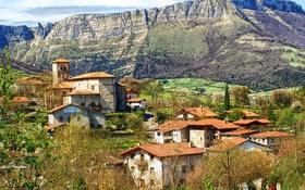 Обои горы, скалы, поля, домики, Испания, Alava