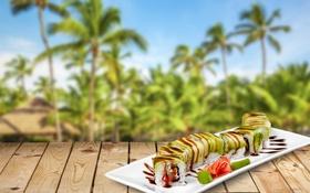 Обои фон, доски, соус, background, sushi, суши, роллы
