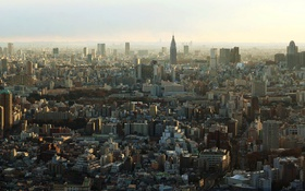 Картинка небо, дома, Япония, Токио, панорама