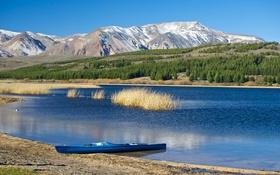 Картинка небо, деревья, горы, озеро, лодка