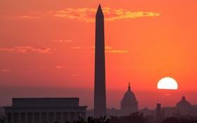 Обои солнце, закат, Вашингтон, США, обелиск