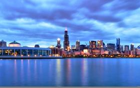 Обои город, здания, небоскребы, вечер, Чикаго, США, Иллинойс