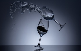 Обои When Wine Glasses Fight, всплеск, падение, бокал