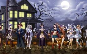 Картинка ночь, дом, девушки, праздник, луна, самурай, костюм