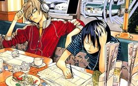 Картинка еда, наушники, Bakuman, mashiro moritaka, akito tacagi