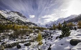 Картинка осень, снег, деревья, горы, природа, река, ручей