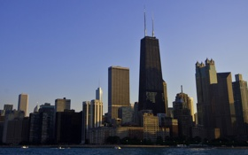 Обои city, небоскребы, вечер, америка, чикаго, мегаполис, штаты