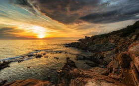 Обои закат, камни, побережье, скалы, Италия, море