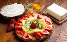 Обои клубника, пирог, крем, ягоды, сладкое, десерт, выпечка
