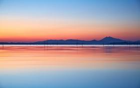 Картинка небо, горы, озеро, отражение, холмы, зеркало, силуэт