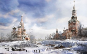 Обои drawing, cold, clock, Moscow, winter, metro 2033, game