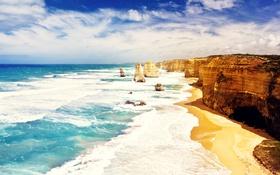 Обои water, australia, beach, dodici apostoli, cliffs