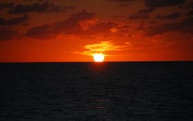 Обои море, облака, закат, горизонт, оранжевое небо