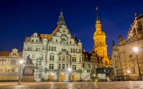 Картинка ночь, огни, Германия, Дрезден, площадь, памятник