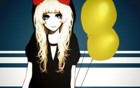 Картинка девушка, шарики, аниме, арт, капюшон, бант, ohagi