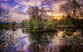 Картинка озеро, отражение, Пейзаж