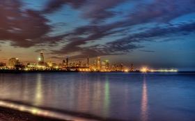 Картинка ночь, city, огни, небоскребы, USA, америка, чикаго