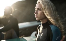 Картинка серфер, серфинг, девушка, профиль, блондинка
