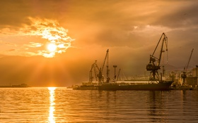 Картинка sea, sunset, boat, Croatia, Rijeka