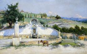 Обои пейзаж, Антонио Гомар, мул, Ла Фуэнте де Сан Паскуаль, холмы, источник, картина