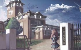 Обои часы, школа, девочка, косички, Здание
