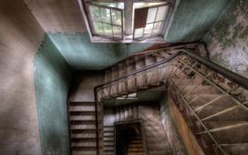 Обои интерьер, окно, лестница