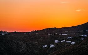 Обои небо, горы, остров, дома, вечер, Греция, Миконос