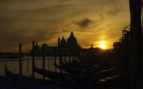 Картинка закат, Италия, Венеция, сумерки