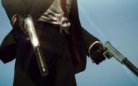 Обои пиджак, перчатки, глушитель, пистолеты, Hitman, оружие