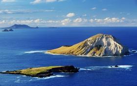 Обои море, небо, облака, пейзаж, скала, остров