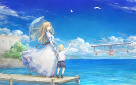Картинка девушка, озеро, самолет, эмоции, ветер, зонт, мальчик