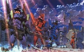 Картинка оружие, фантастика, руины, Арт, Neon Genesis Evangelion, постапокалипсис, Ayanami Rei