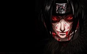 Обои face, sharingan, лицо, blood, itachi, кровь