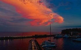 Обои гавань, облака, ночь, яхты, море, зарево, Монте-Карло