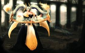Обои девушка, платье, украшение, длинные волосы, league of legends, sona