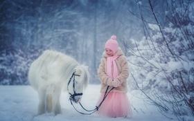 Обои зима, снег, природа, ребенок