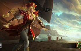 Обои девушка, корабль, шляпа, пират, Heroes of Newerth, Artesia
