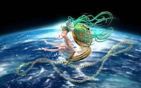 Картинка девушка, космос, земля, часы, планета, арт, лента