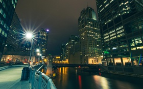 Обои Вечер, Огни, Река, Чикаго, Небоскребы, Здания, Америка