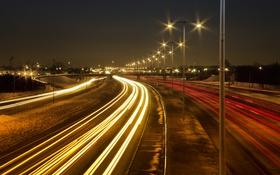 Обои улица, ночь, фонари, движение, огни
